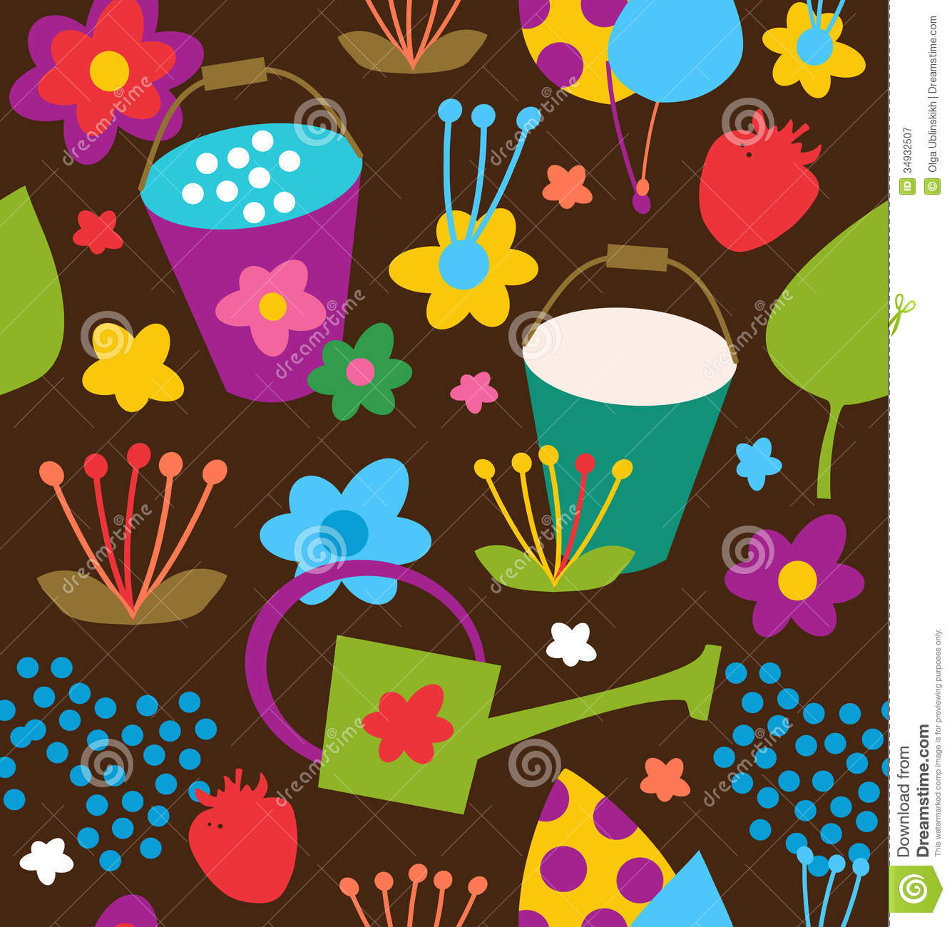 doodle seamless garden pattern  summer colorful background