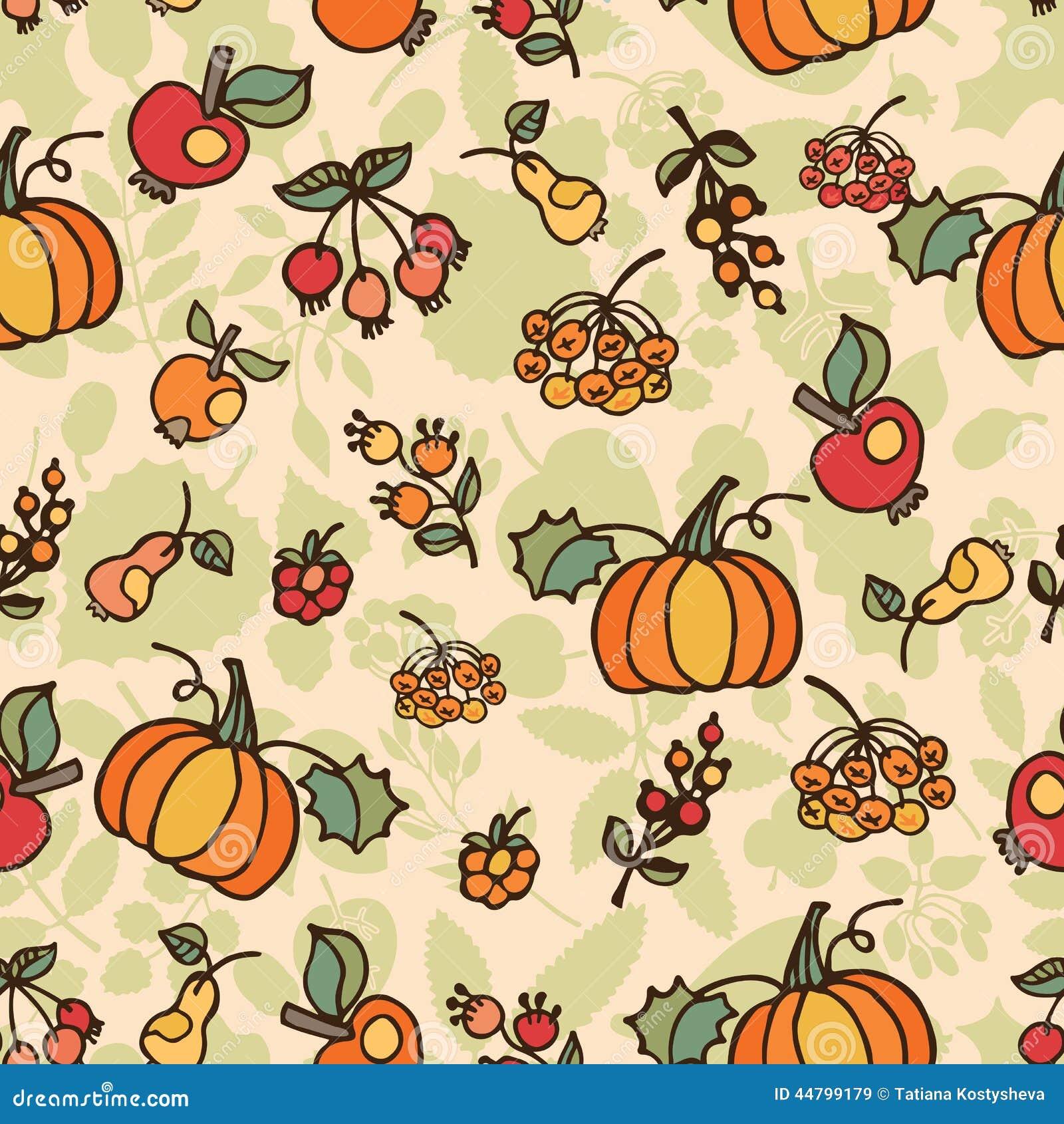 Doodle Seamless Pattern Autumn Harvest Fruit Stock