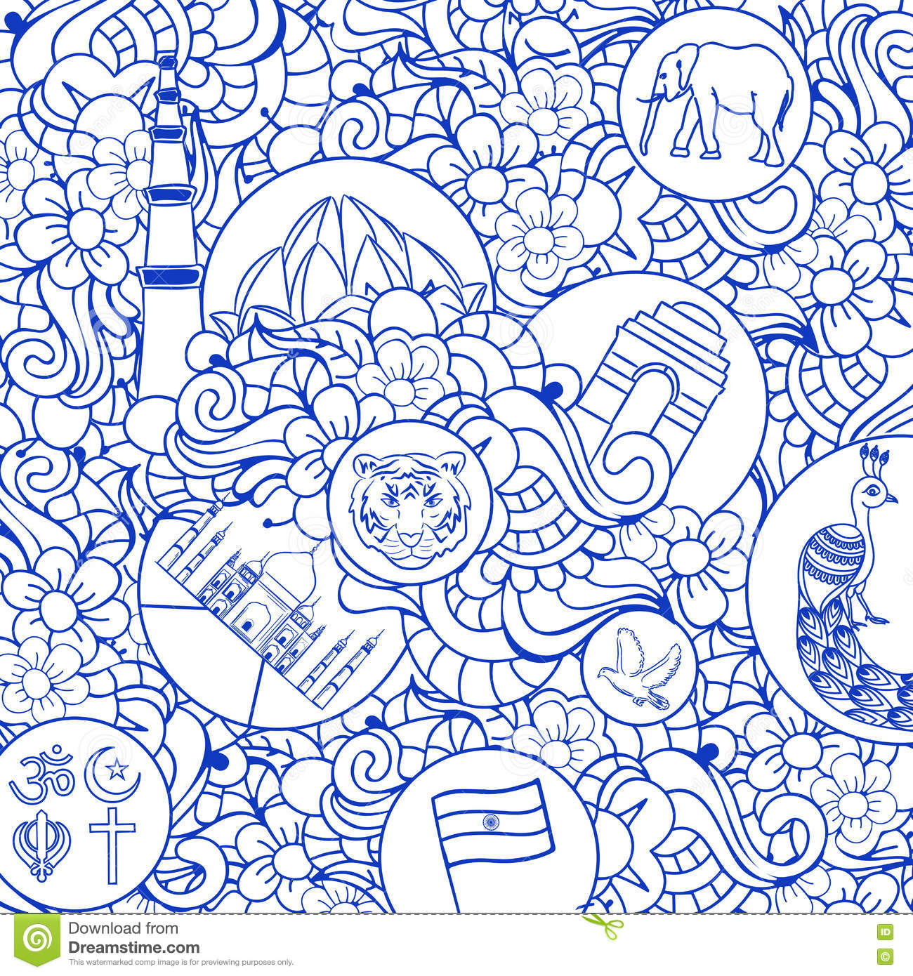 Doodle Seamless Pattern For Indian