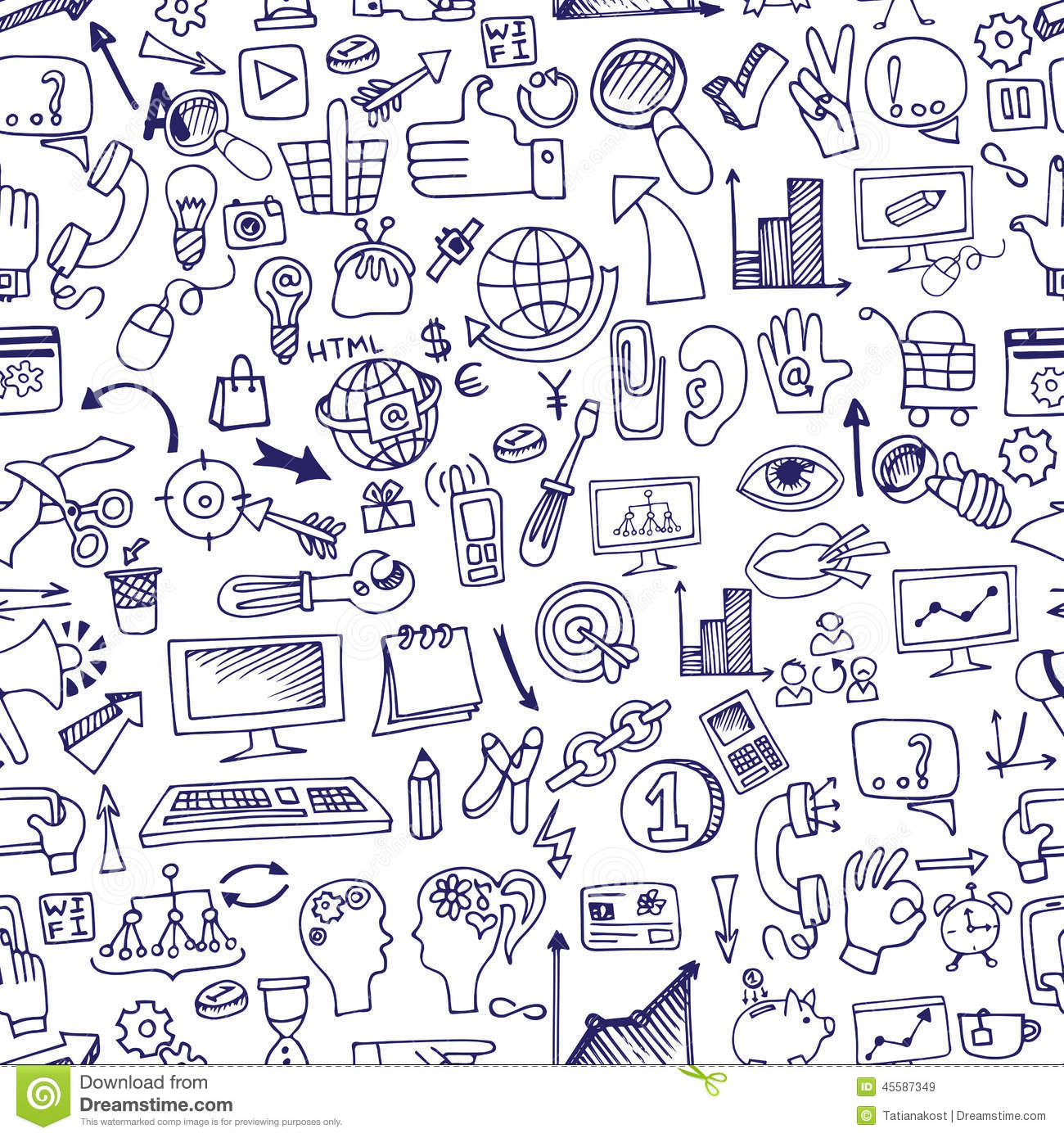 Doodle Seo Icons In Seamless Stock Vector