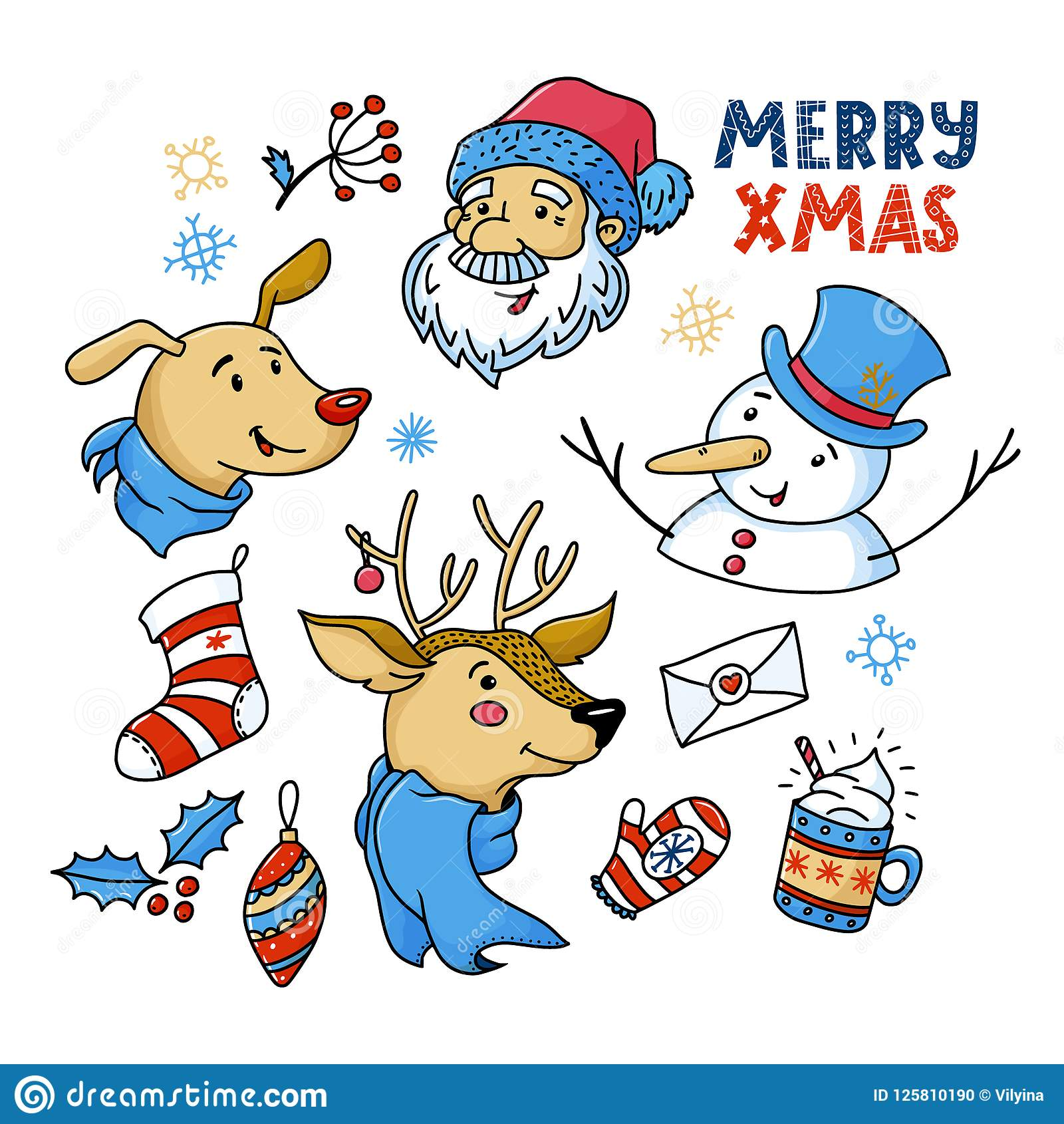 Cute Christmas Pictures.Doodle Set Of Cute Christmas Characters And Things Stock