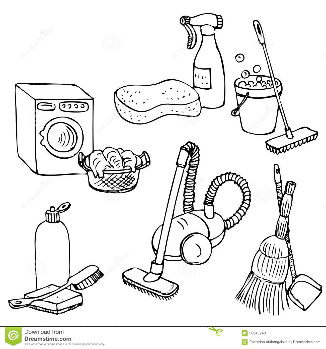 doodle set for home cleaning stock vector