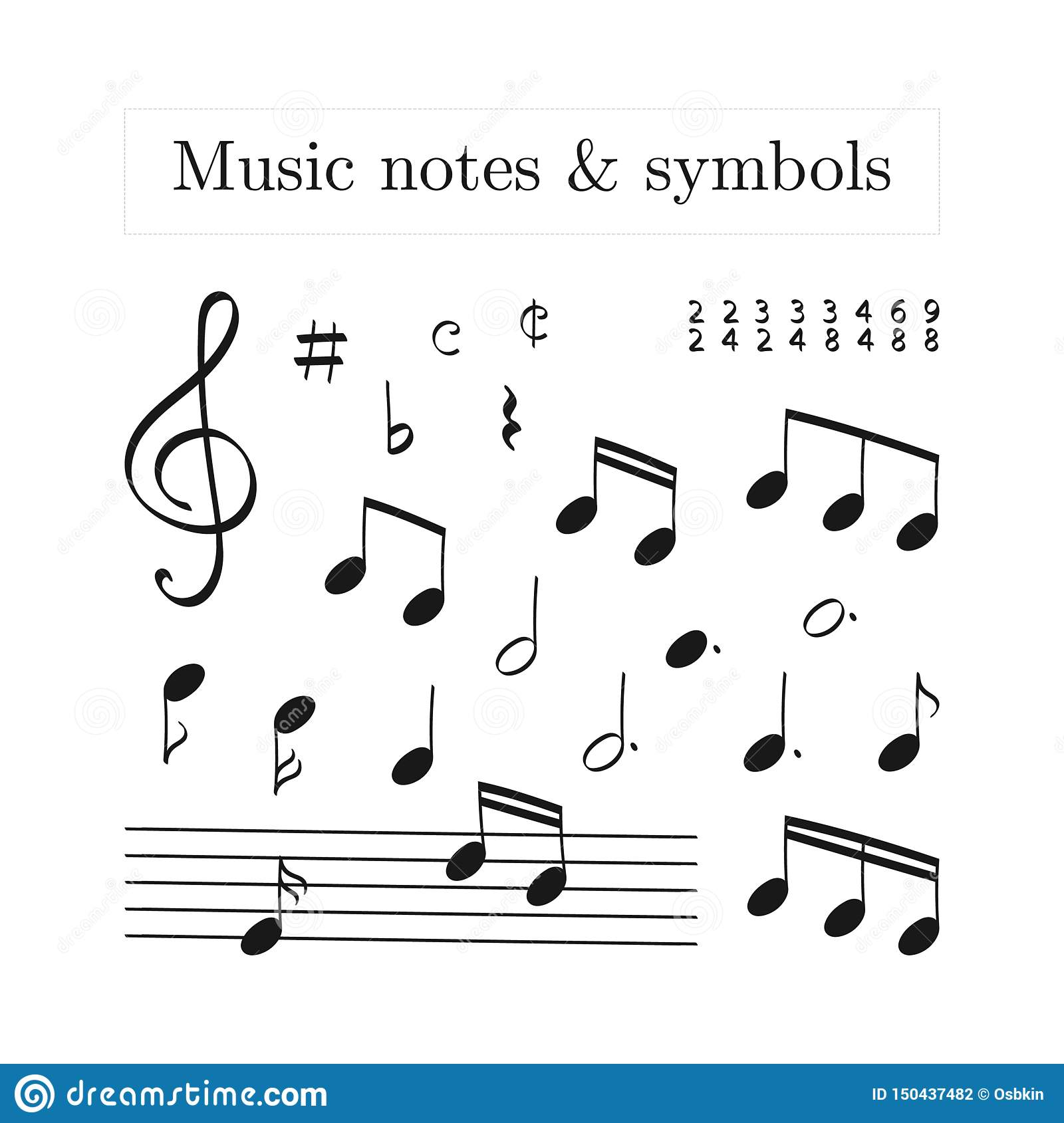 Doodle set of isolated music note