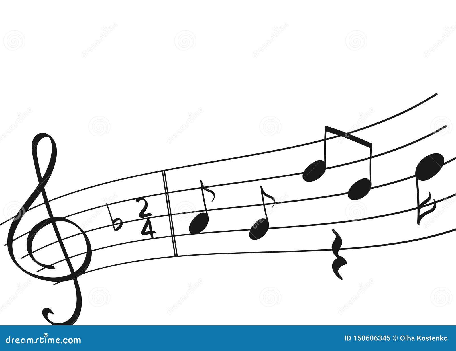 Doodle set odosobniona muzyki notatka
