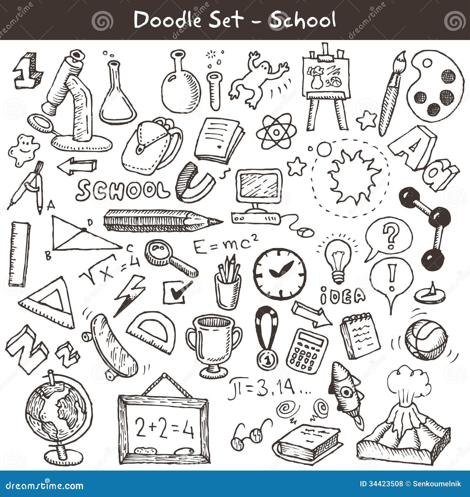 Doodle set - school
