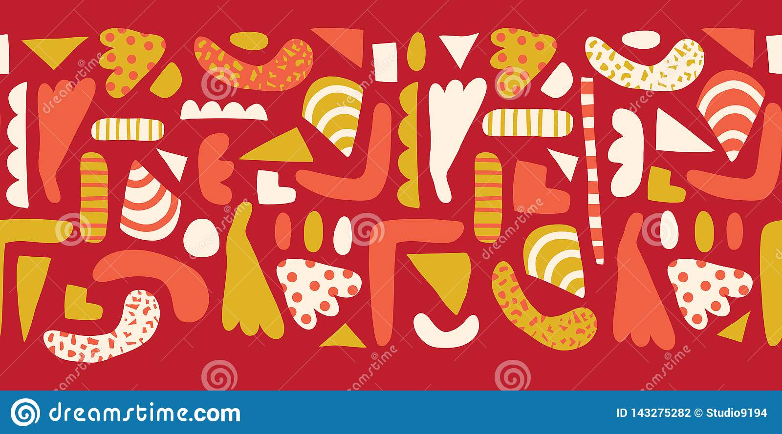Doodle shapes Seamless horizontal border vector. Modern abstract pattern with simple elements red, white, yellow, pink