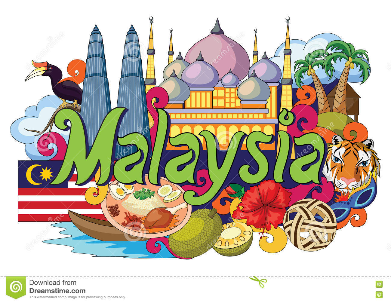 Malaysian People Clipart Doodle Showing ...