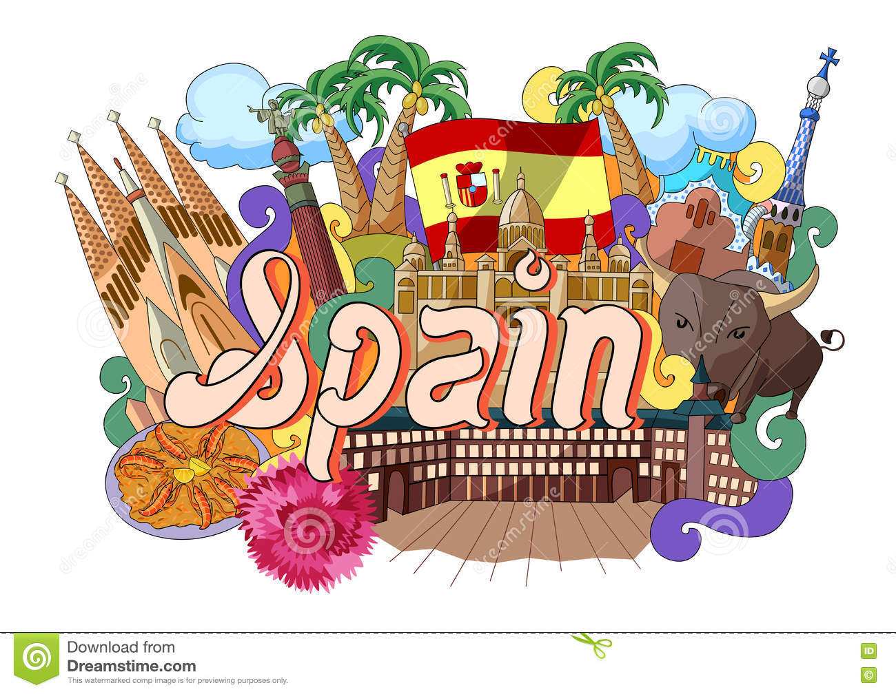 Doodle Showing Architecture And Culture Of Spain Stock Vector ...