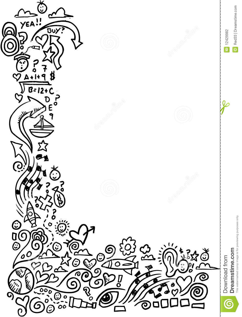 Doodle Sketch Border Stock Photography - Image: 12429982