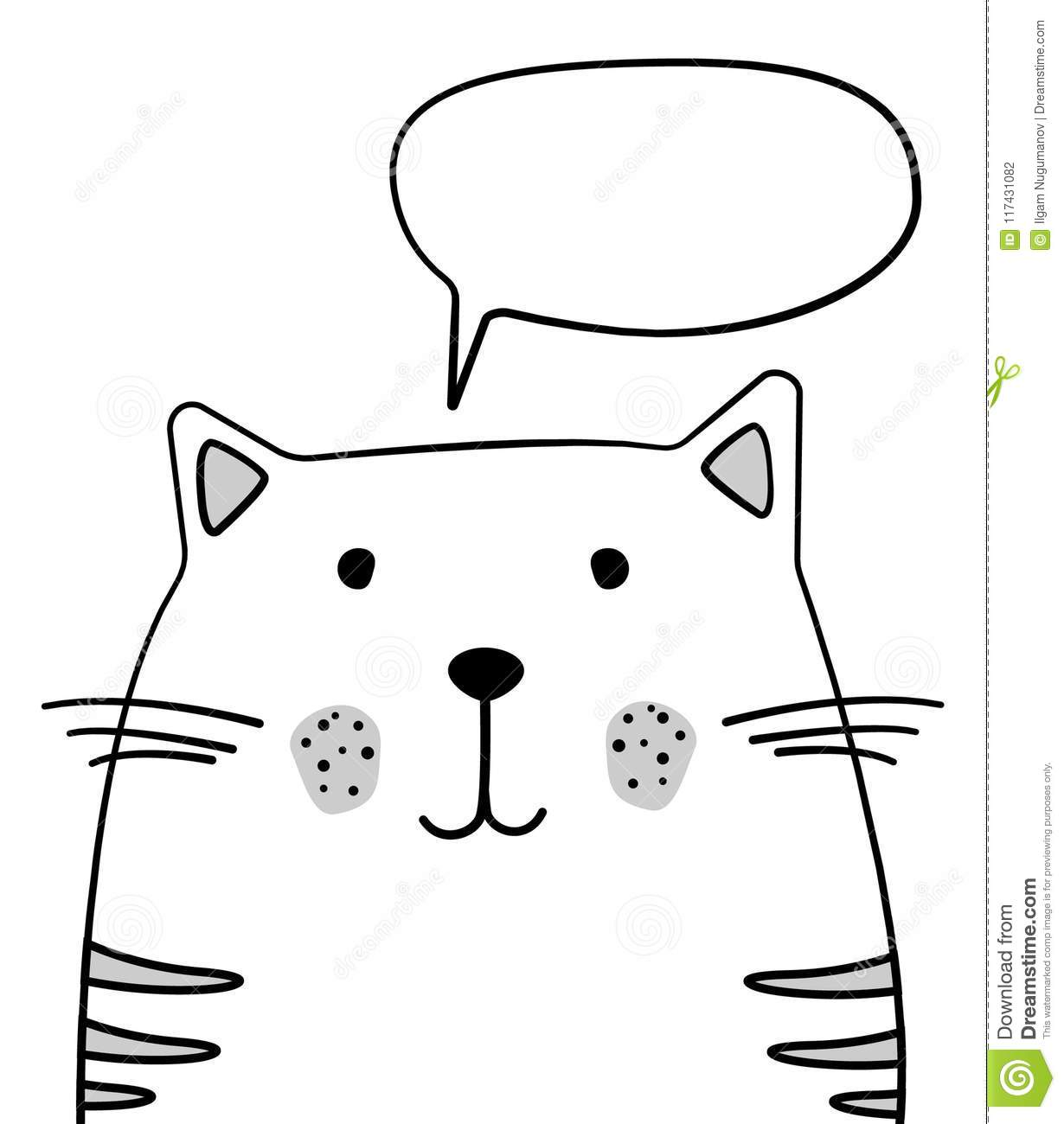 doodle sketch cat with chat cloud illustration cartoon vector cat
