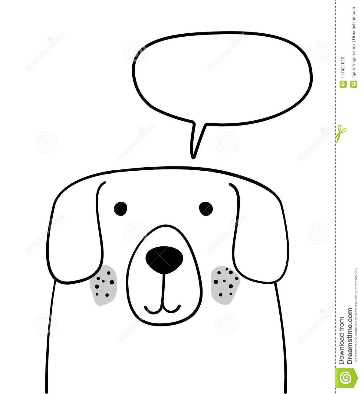 doodle sketch dog with chat cloud illustration cartoon vector dog