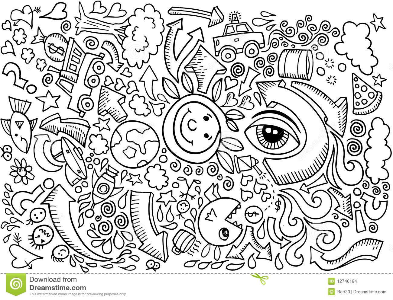Doodle sketch drawing vector stock vector image 12746164 for Doodle art free