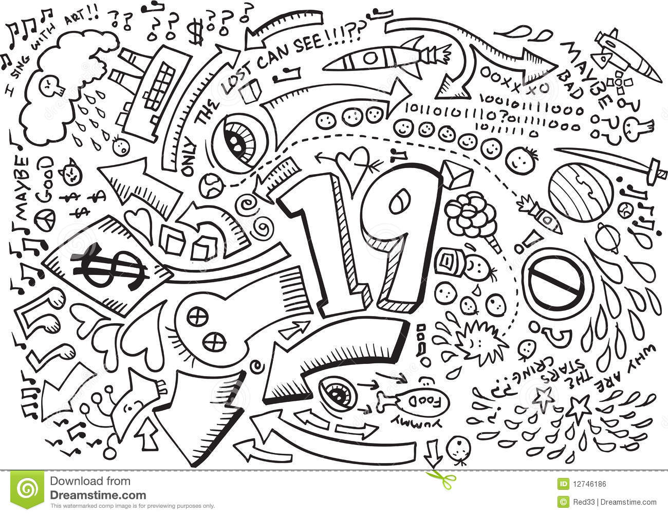 Doodle Sketch Drawing Vector Stock Vector Image 12746186