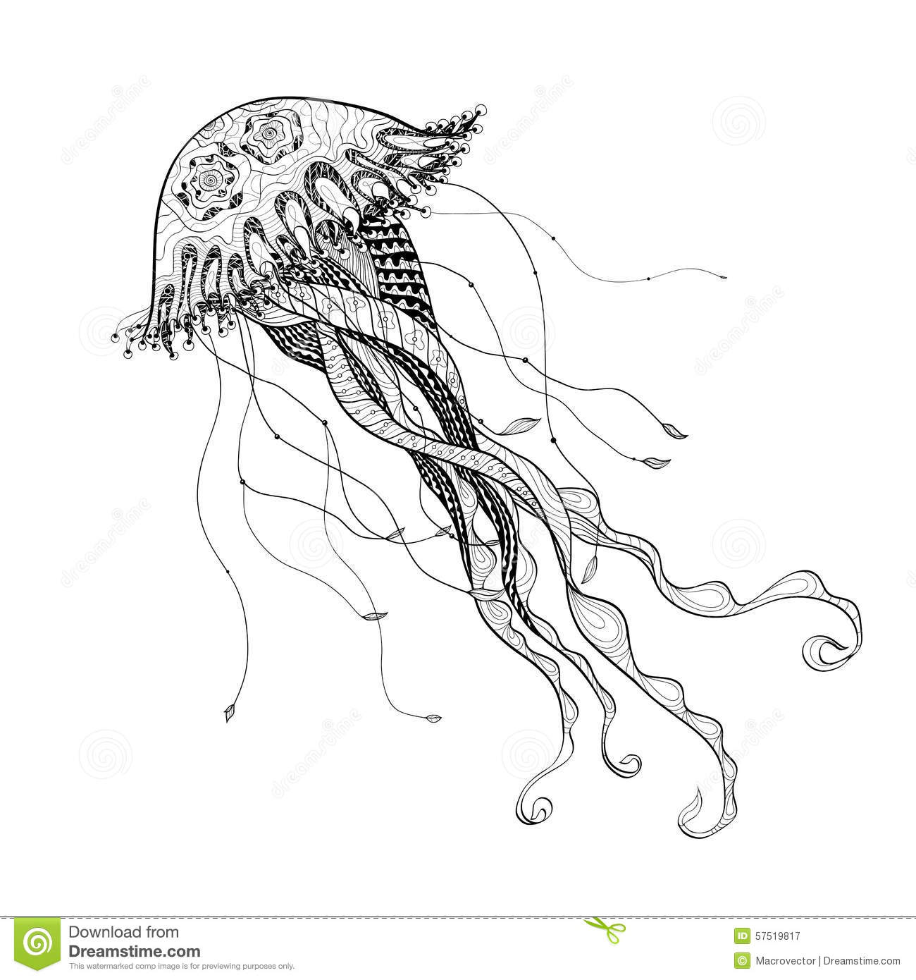 Line Art Poster Design : Doodle sketch medusa jellyfish black line stock vector