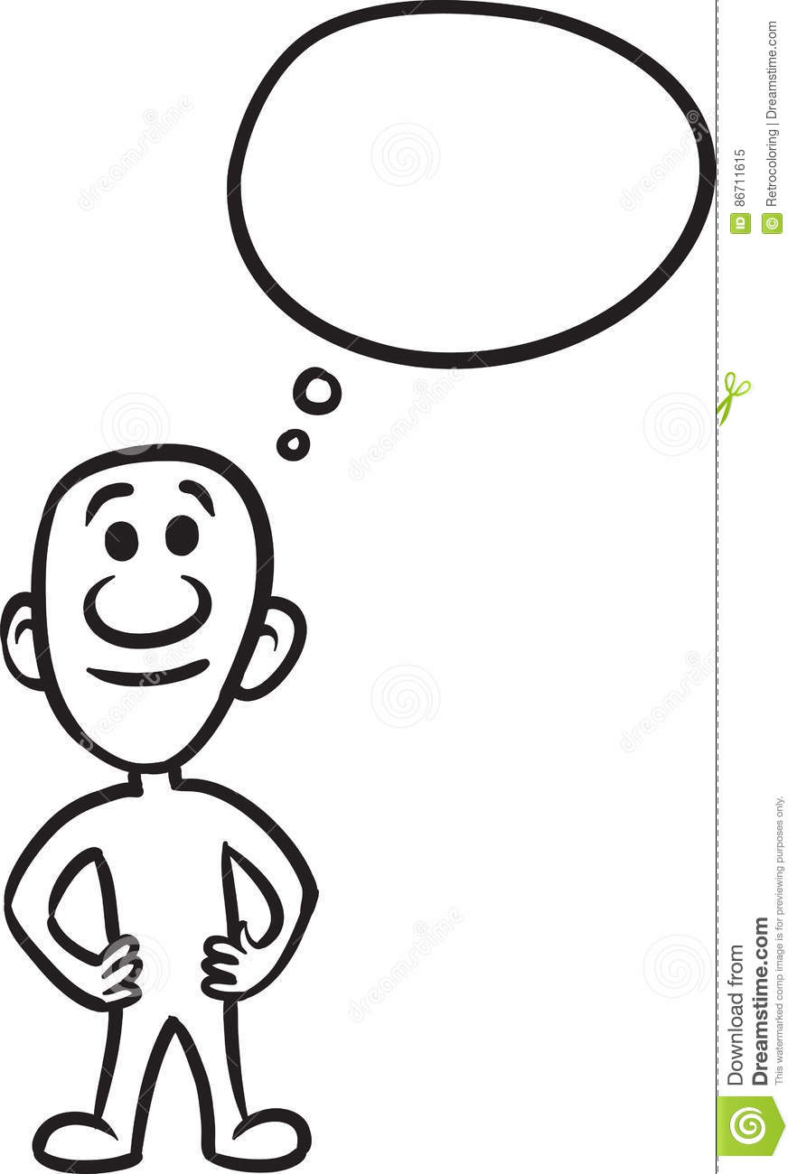 Doodle Small Person Standing Stock Vector Illustration Of Speech