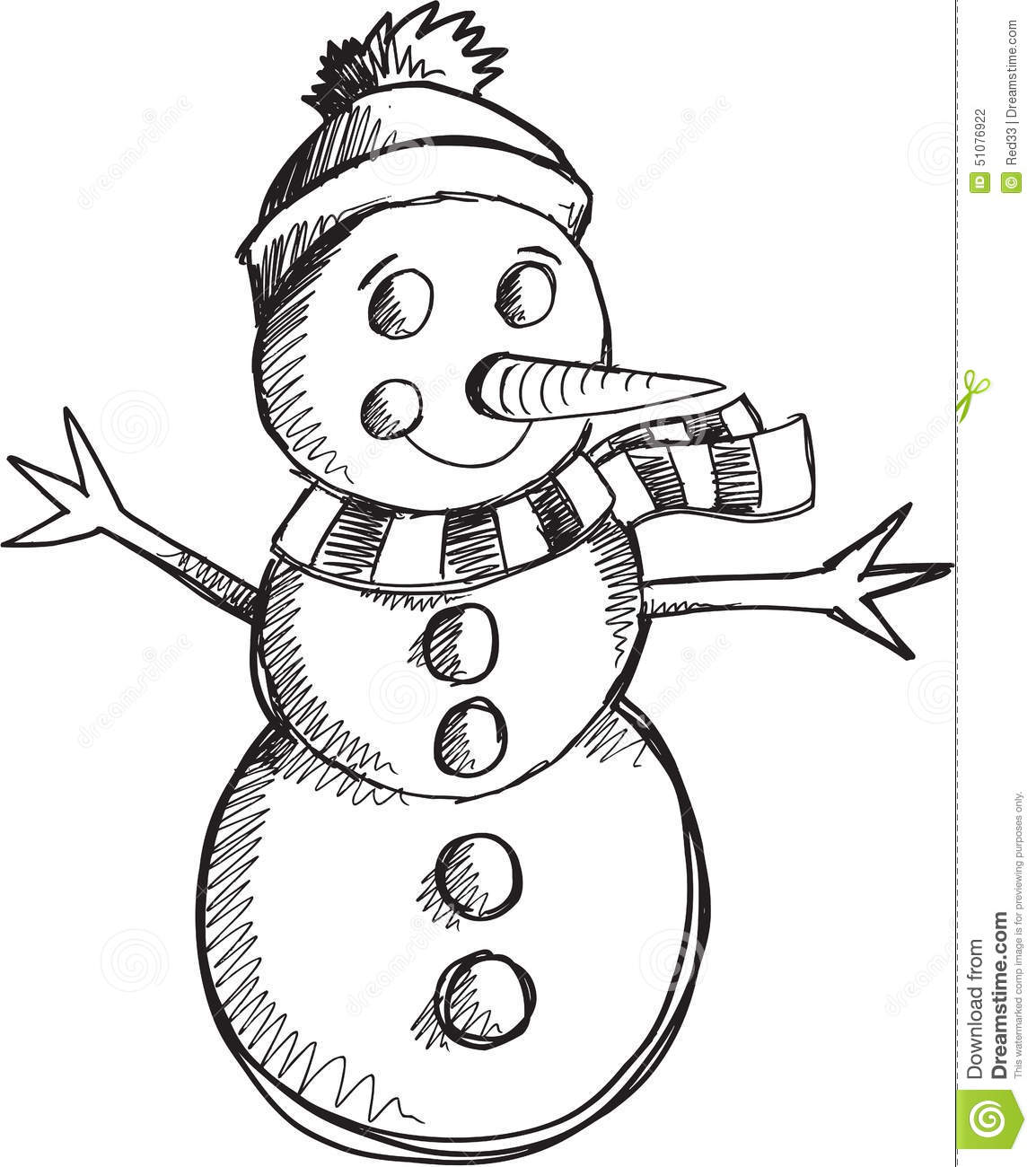 Doodle Snowman Vector Stock Vector. Image Of Doodle, Cold