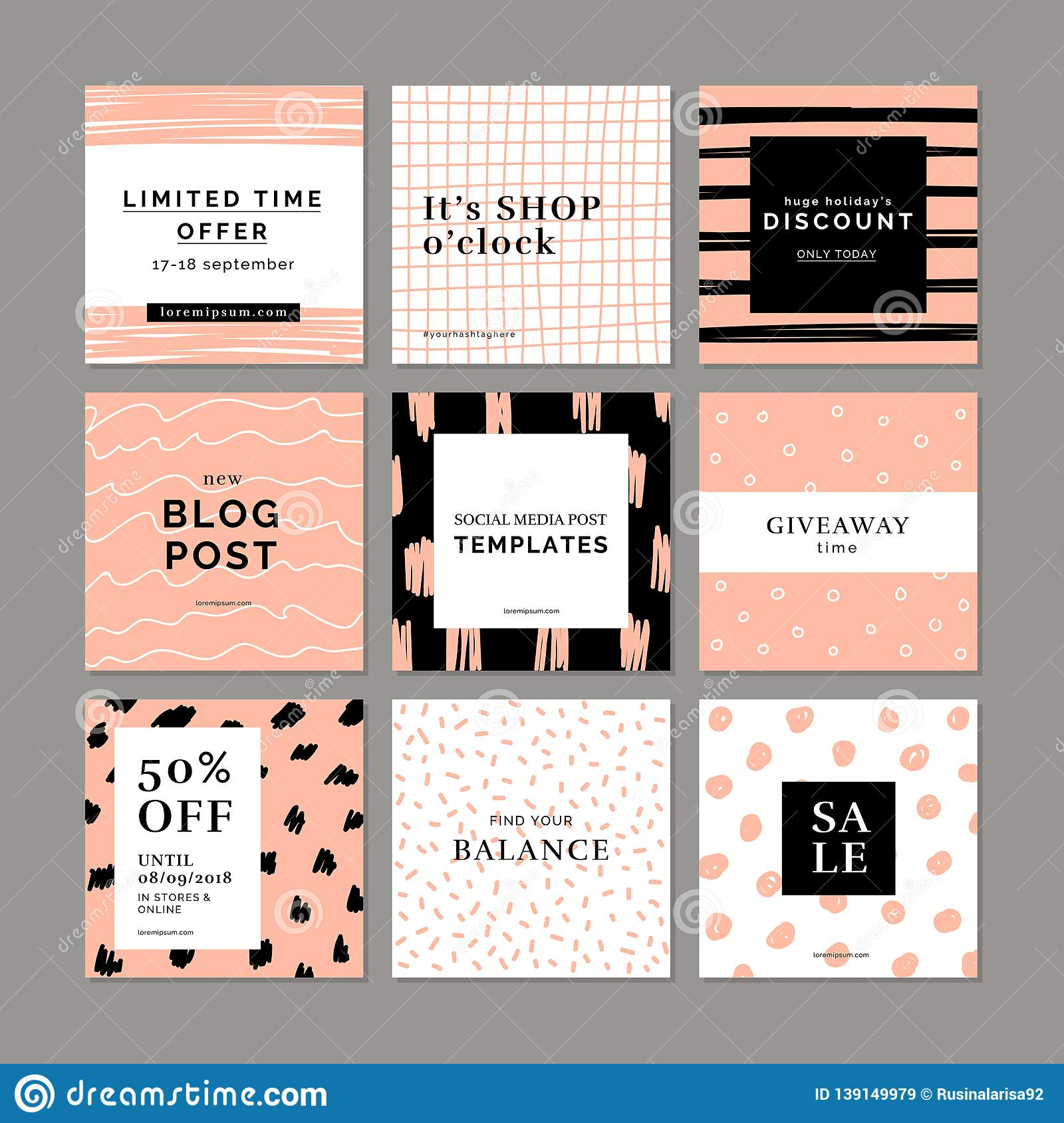 9 square layout templates for social media mobile apps or banner design social media pack graphic hand drawn backgrounds