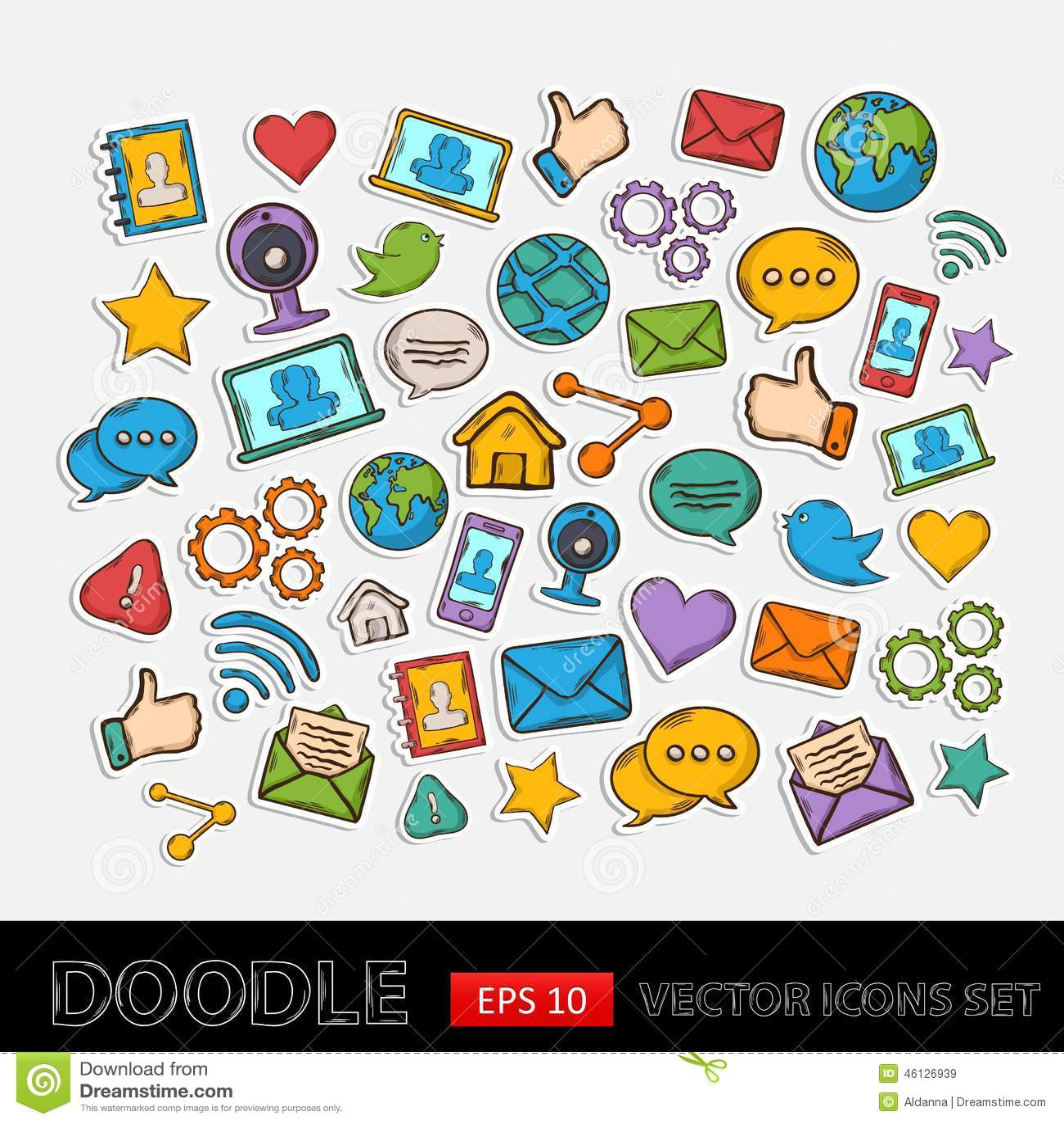 Doodle Social Network Set Stock Vector - Image: 46126939