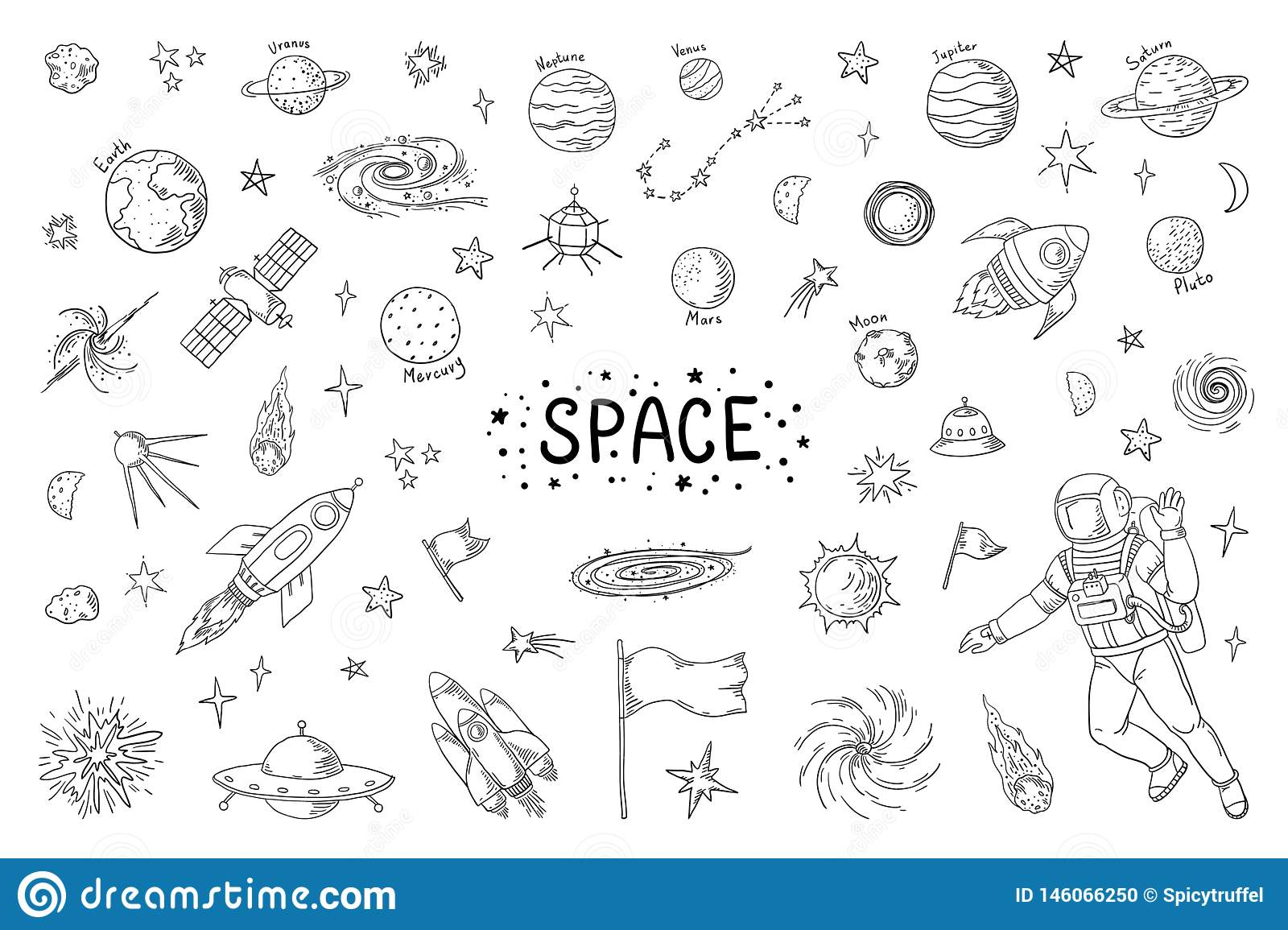 Doodle space trendy universe pattern star astronaut meteor rocket comet astronomy elements vector cosmic pencil sketch elements drawing