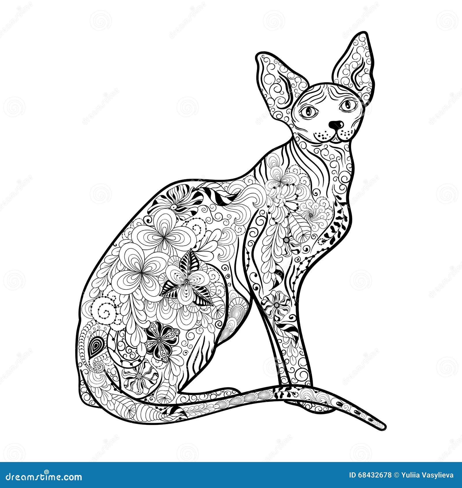 Doodle Sphynx кота иллюстрация вектора иллюстрации