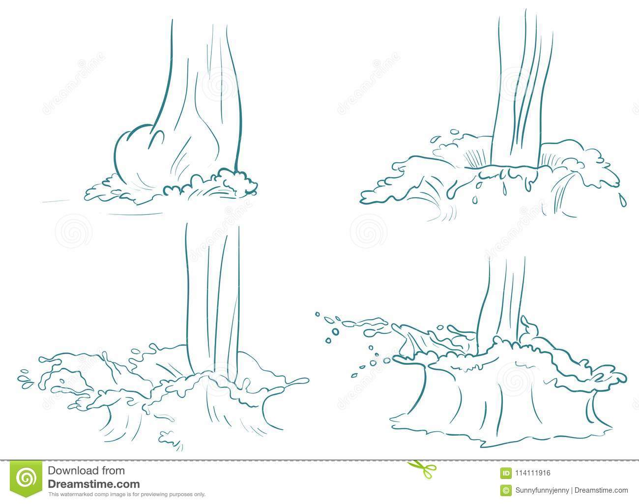Doodle Splash - Animation Frames Stock Vector - Illustration of line ...