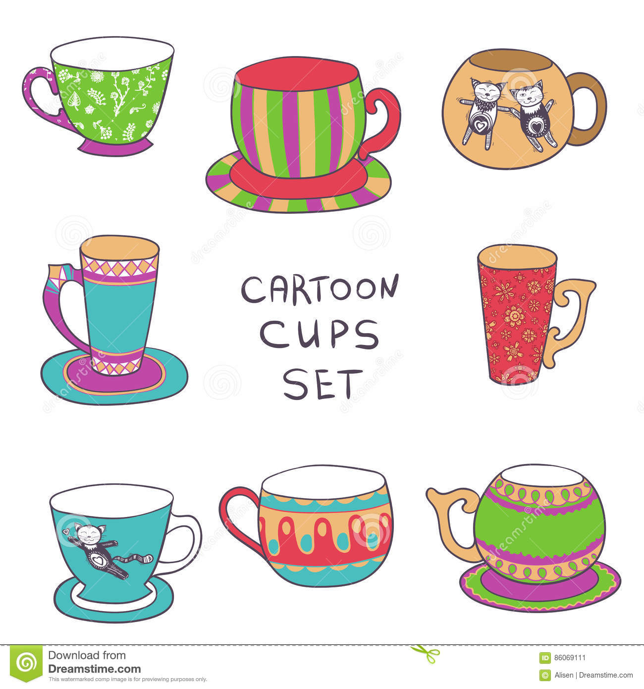 Doodle Style Cartoon Cups Vector Tea Or Coffee Set Stock Vector Illustration Of Icon Decorative 86069111