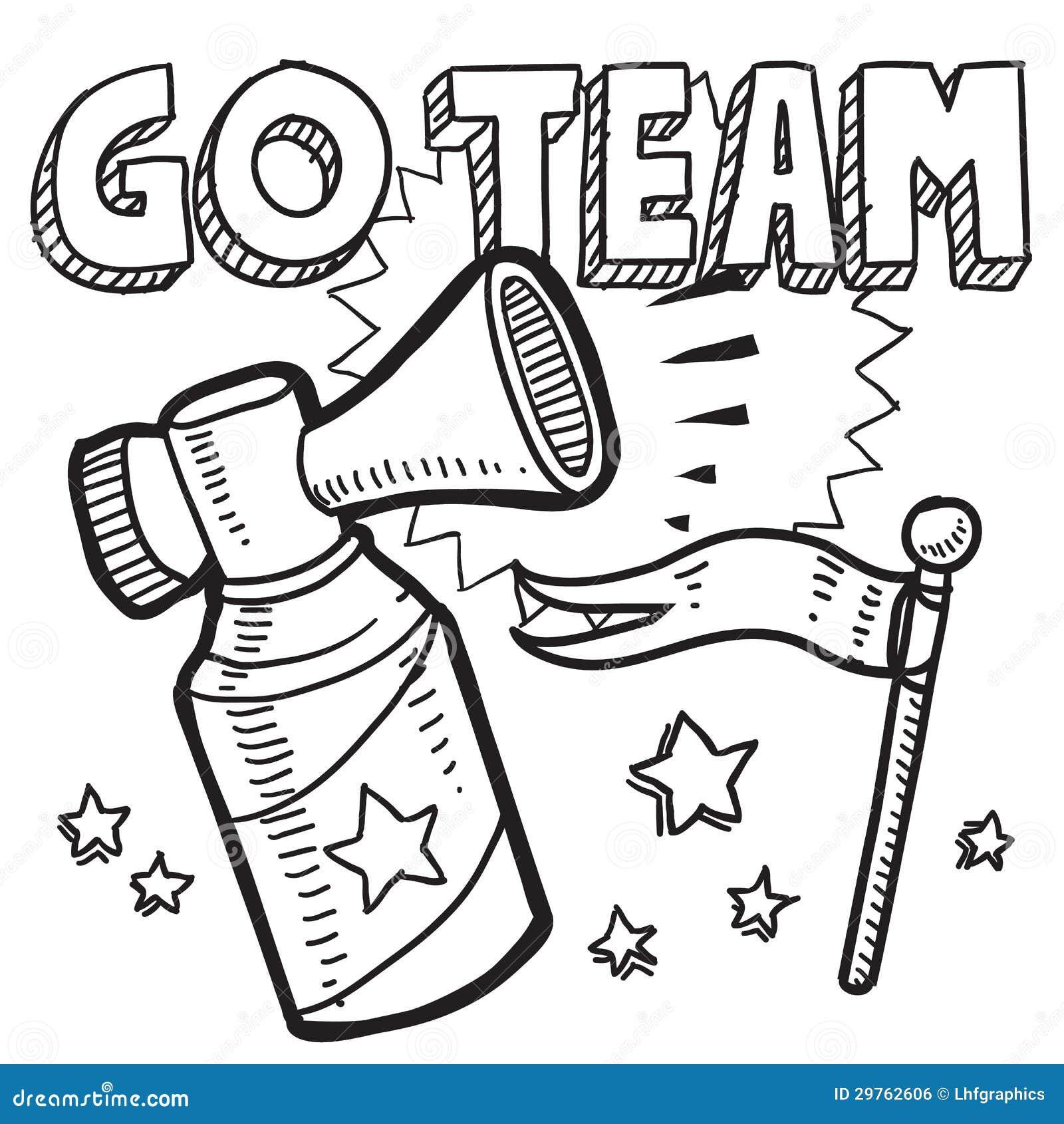 Go Team Sports Air Horn Sketch Stock Vector - Illustration of
