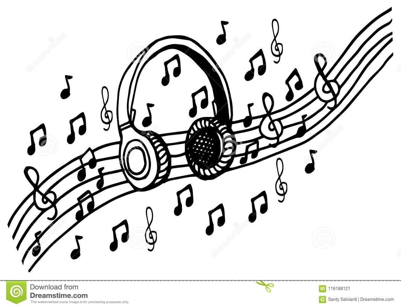 doodle style headphones vector illustration with musical