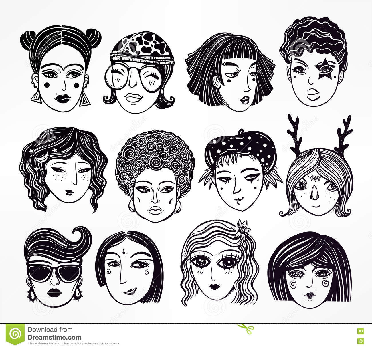 Doodle style set of diverse female faces stock vector for Doodle art faces
