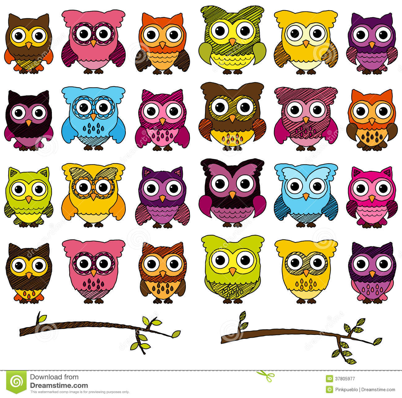 Doodle Style Vector Set Of Cute Owls Royalty Free Stock