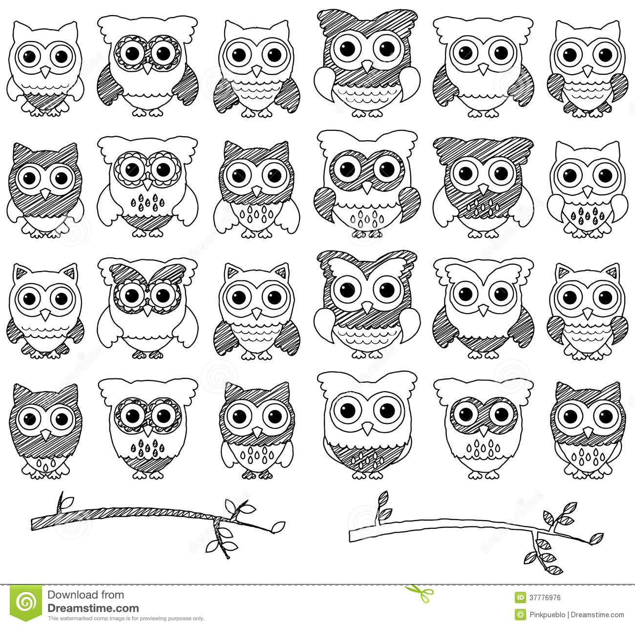 Doodle Style Vector Set Of Cute Owls Royalty Free Stock ...