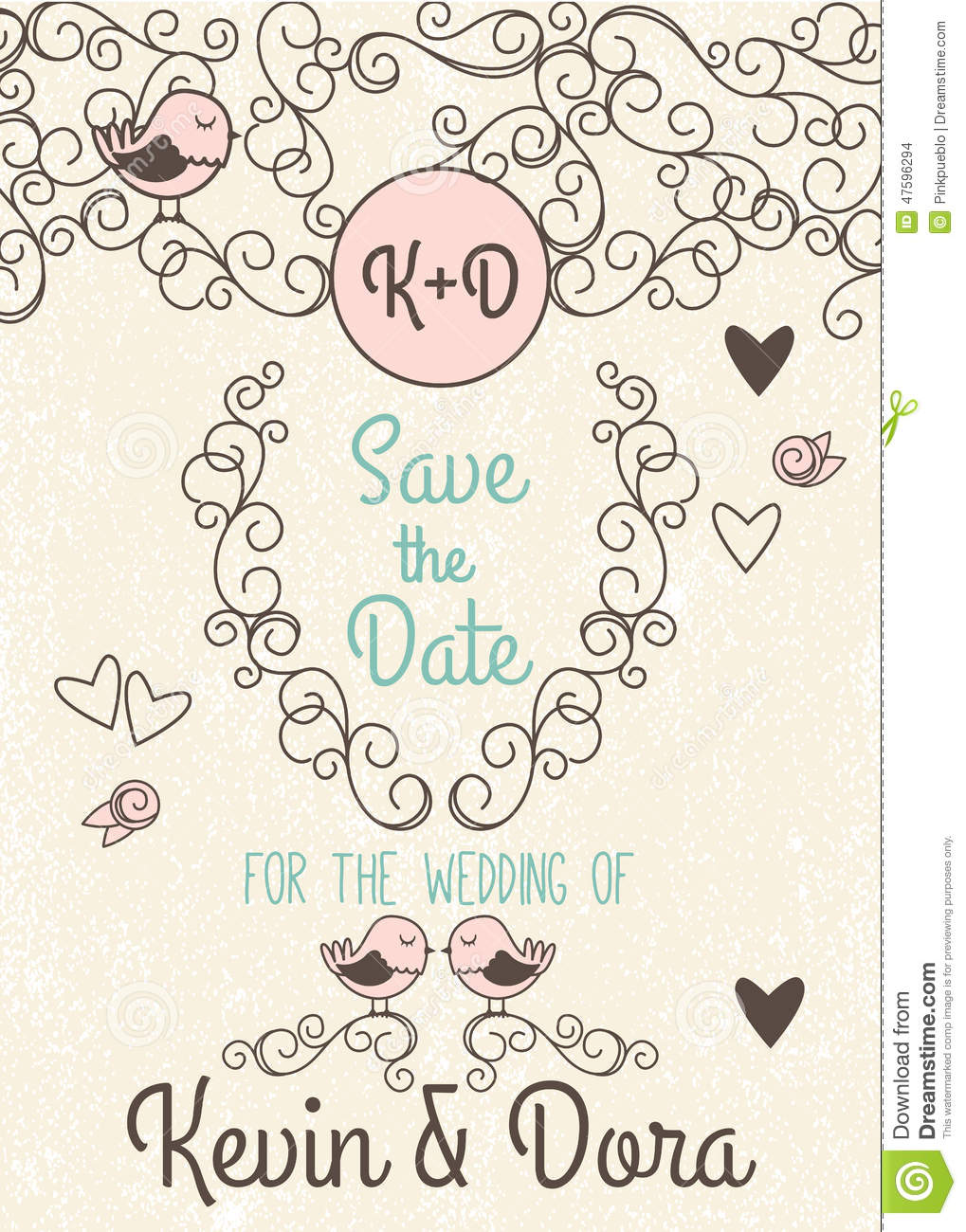 Doodle Style Wedding Invitation With Love Birds And Monogram Stock ...