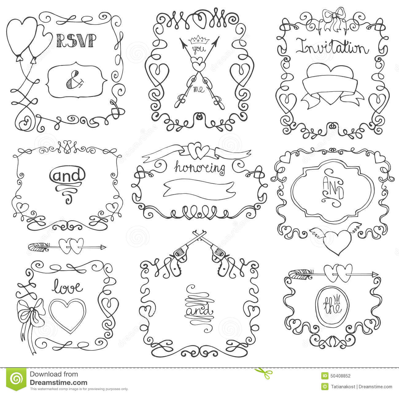 Doodle Swirls Frame Arrows Borders Decor Element Stock