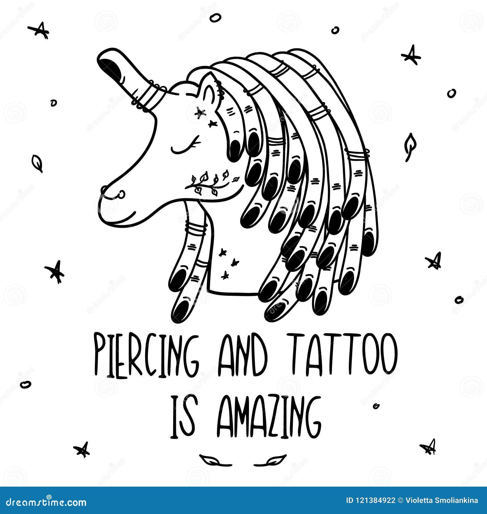 Doodle Tattoo Art Unicorn Vector Card Stock Vector Illustration Of