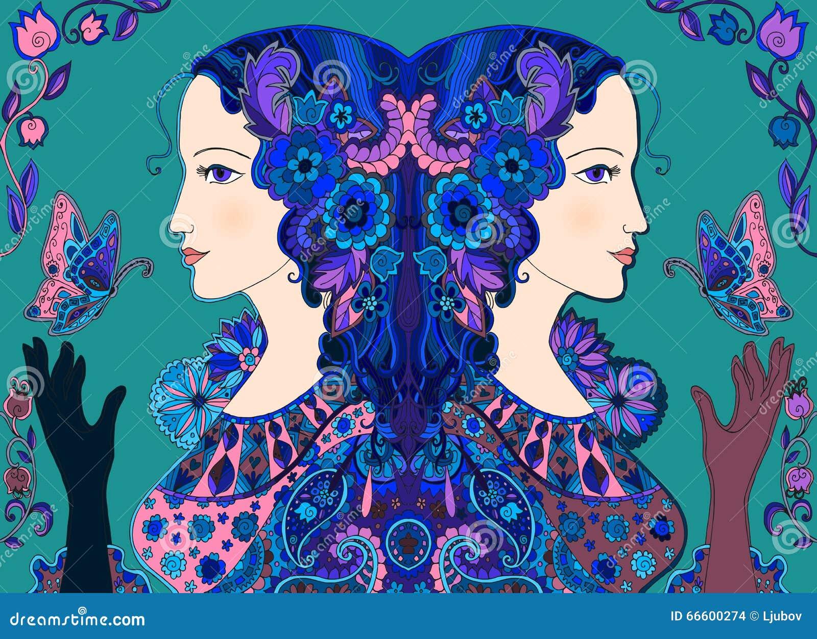 Doodle tirado mão Mulheres feericamente com borboletas e flores