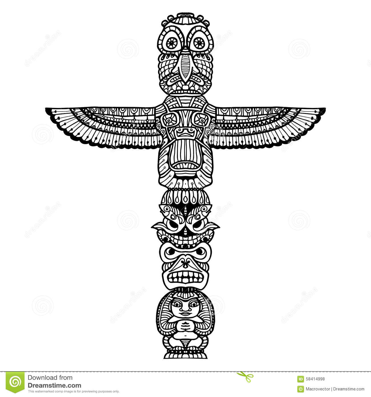 Doodle traditional indian religious totem isolated on white background ...
