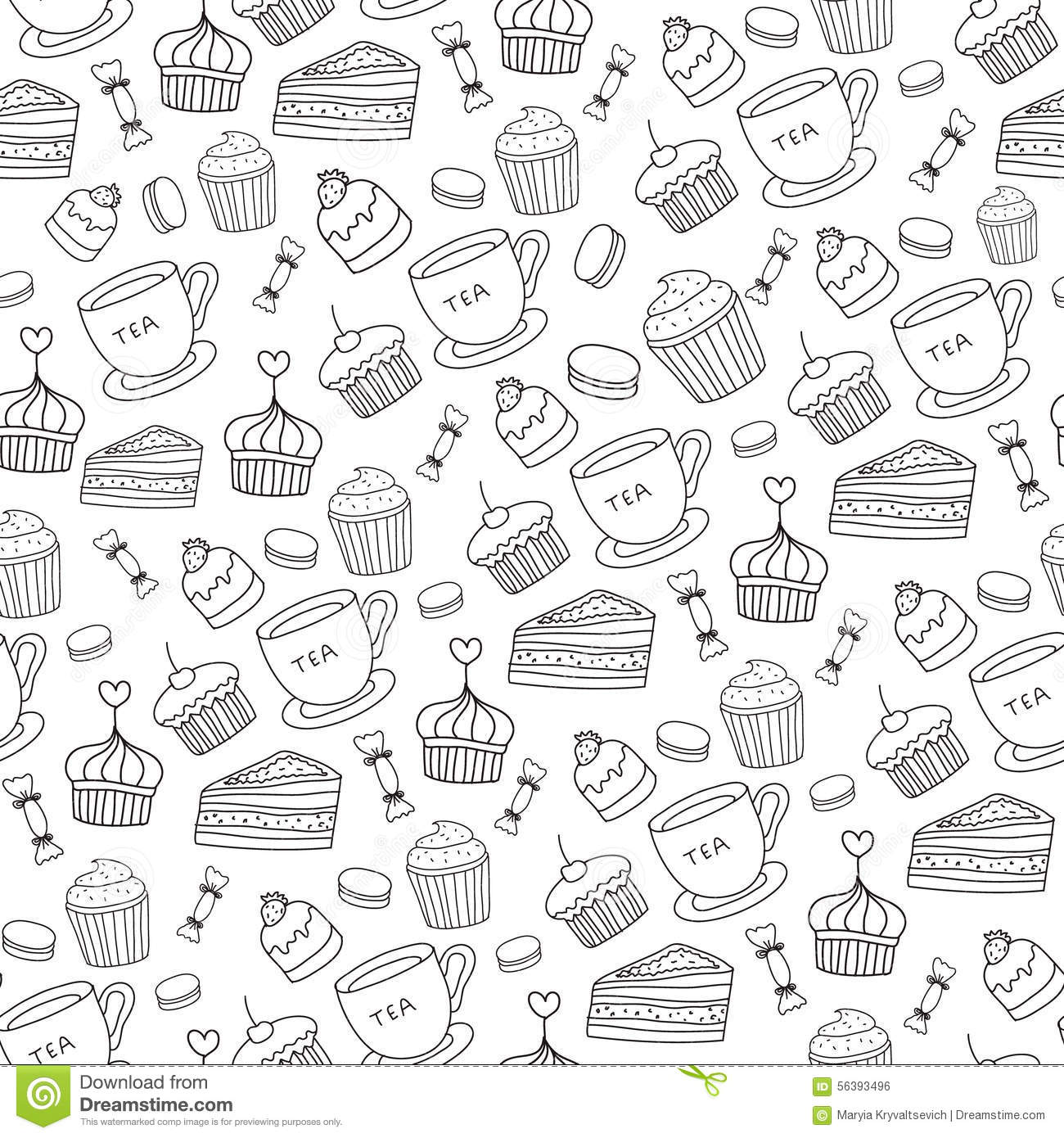 Doodle Vector Bakery Cakes And Dessert Tea Stock Vector
