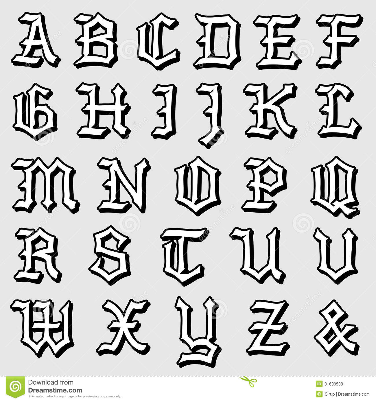 Download Doodle Vector Of A Complete Gothic Alphabet Stock