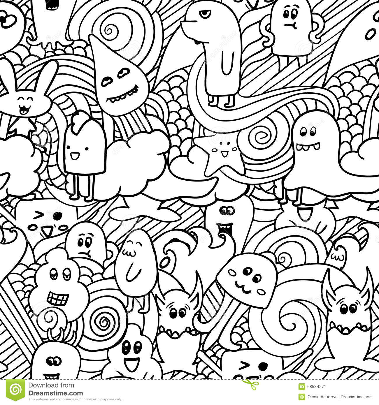 Stock Illustration Doodle Vector Seamless Pattern Monsters Funny Monsters Graffiti Can Be Used Backgrounds T Shirts Image68534271 on cake illustration