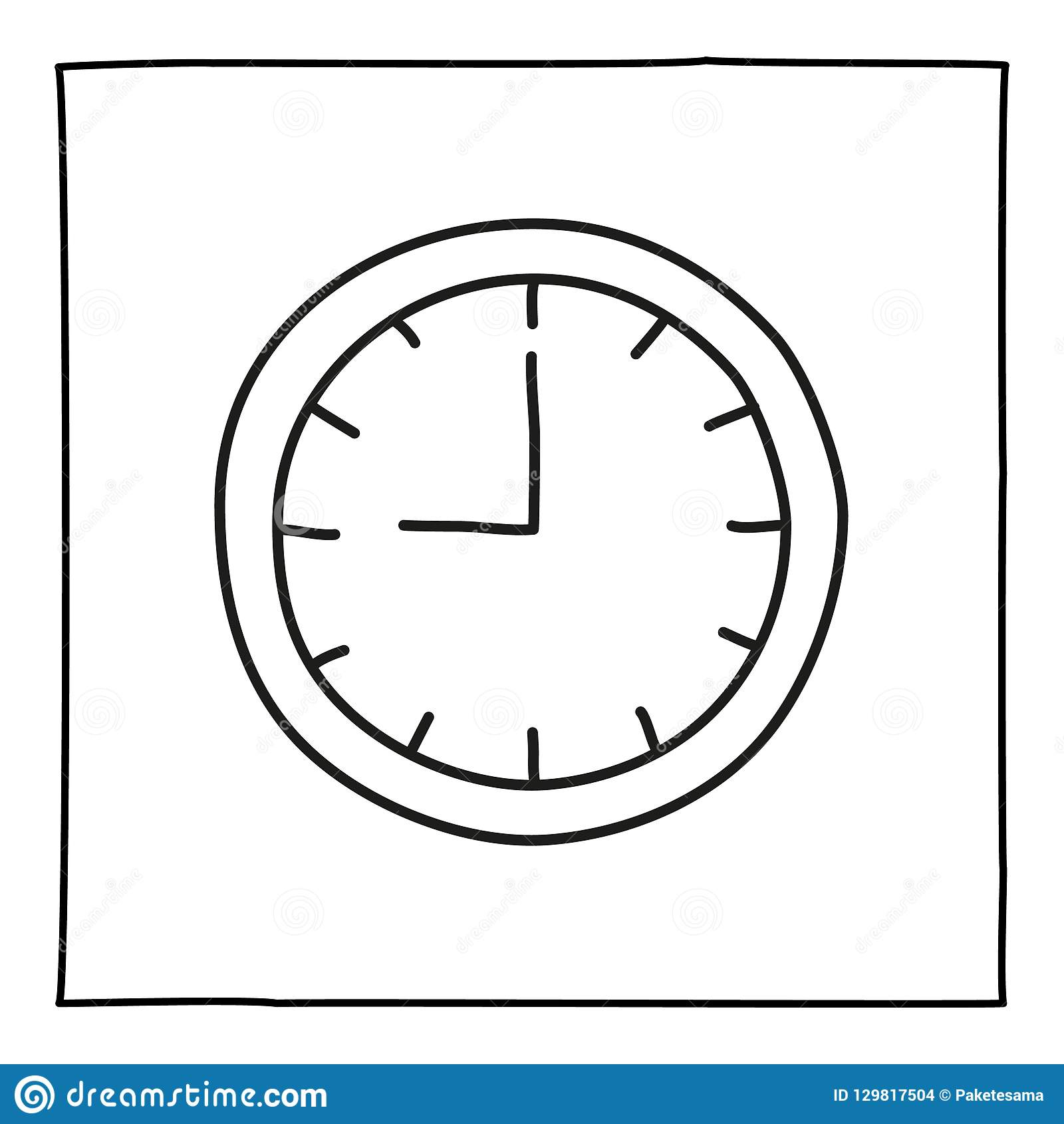 Doodle Wall Clock Watch Icon Stock Illustration