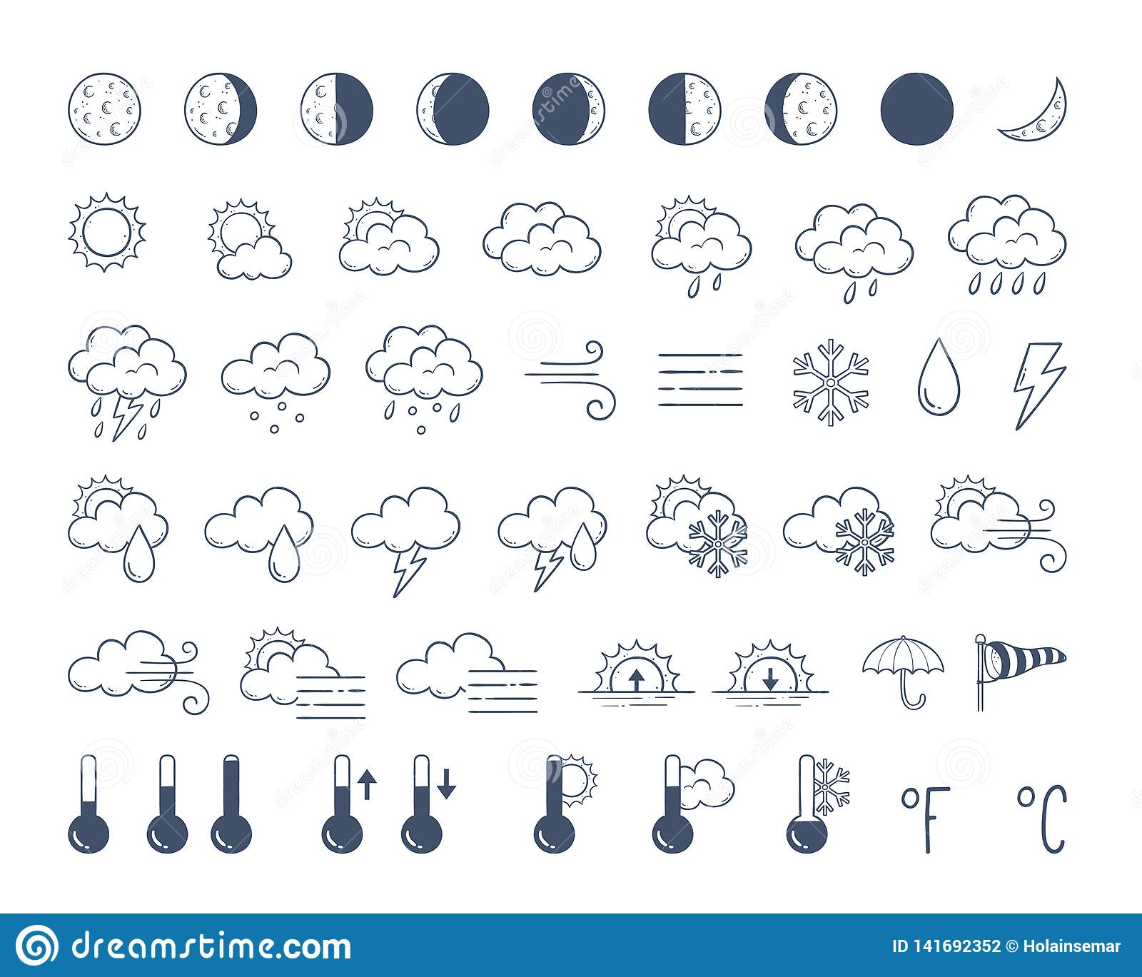 Doodle Weather Icons Pack  Hand Drawn Icon Set  Stock Vector