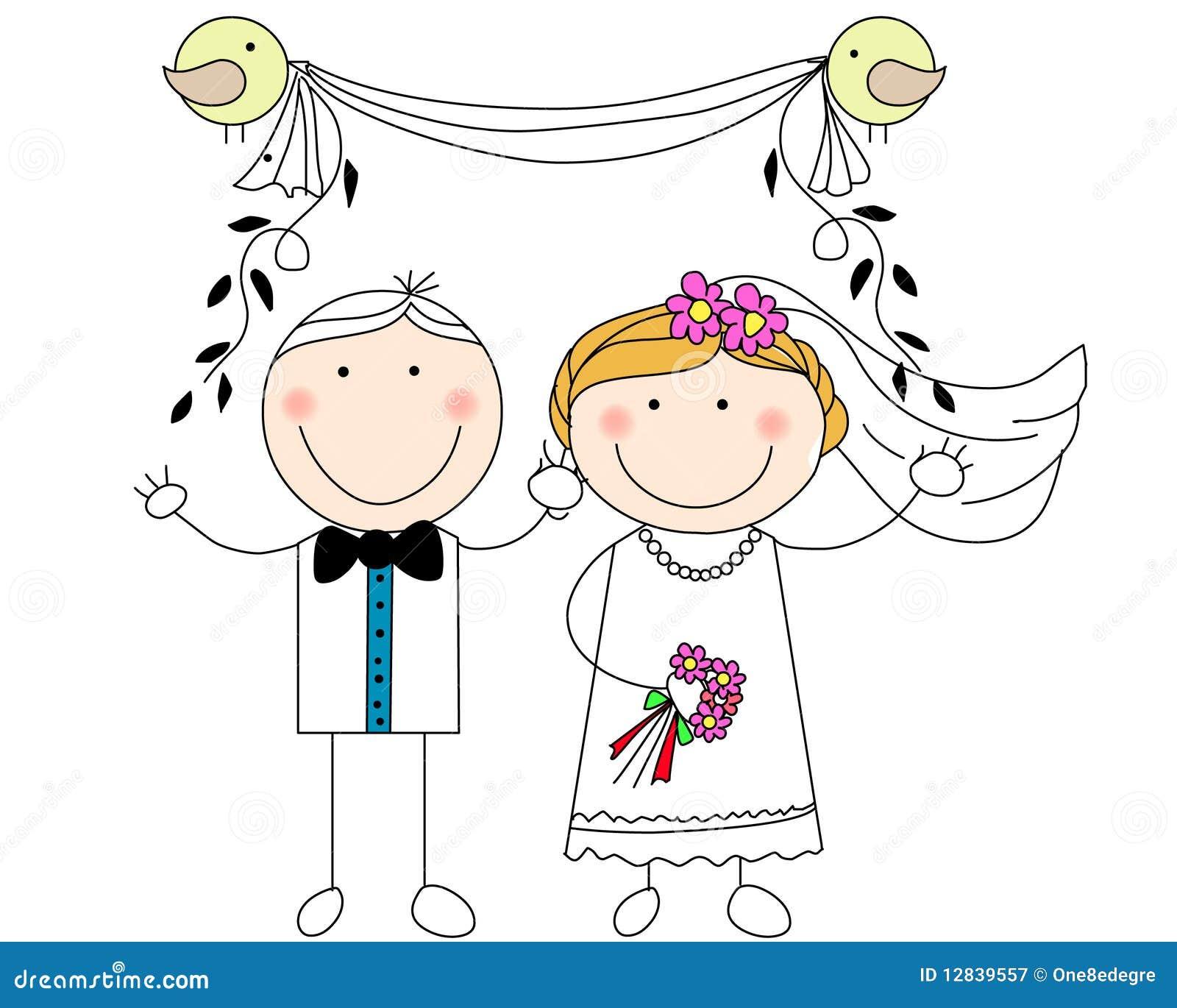 Doodle Wedding Couple Royalty Free Stock Photography