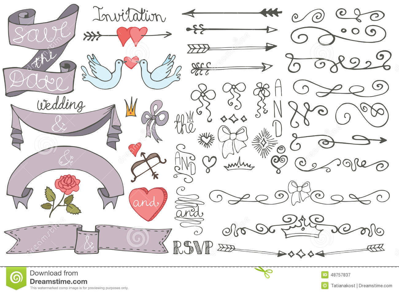 Doodle Wedding Ribbons Swirl Borders Decor Set Stock