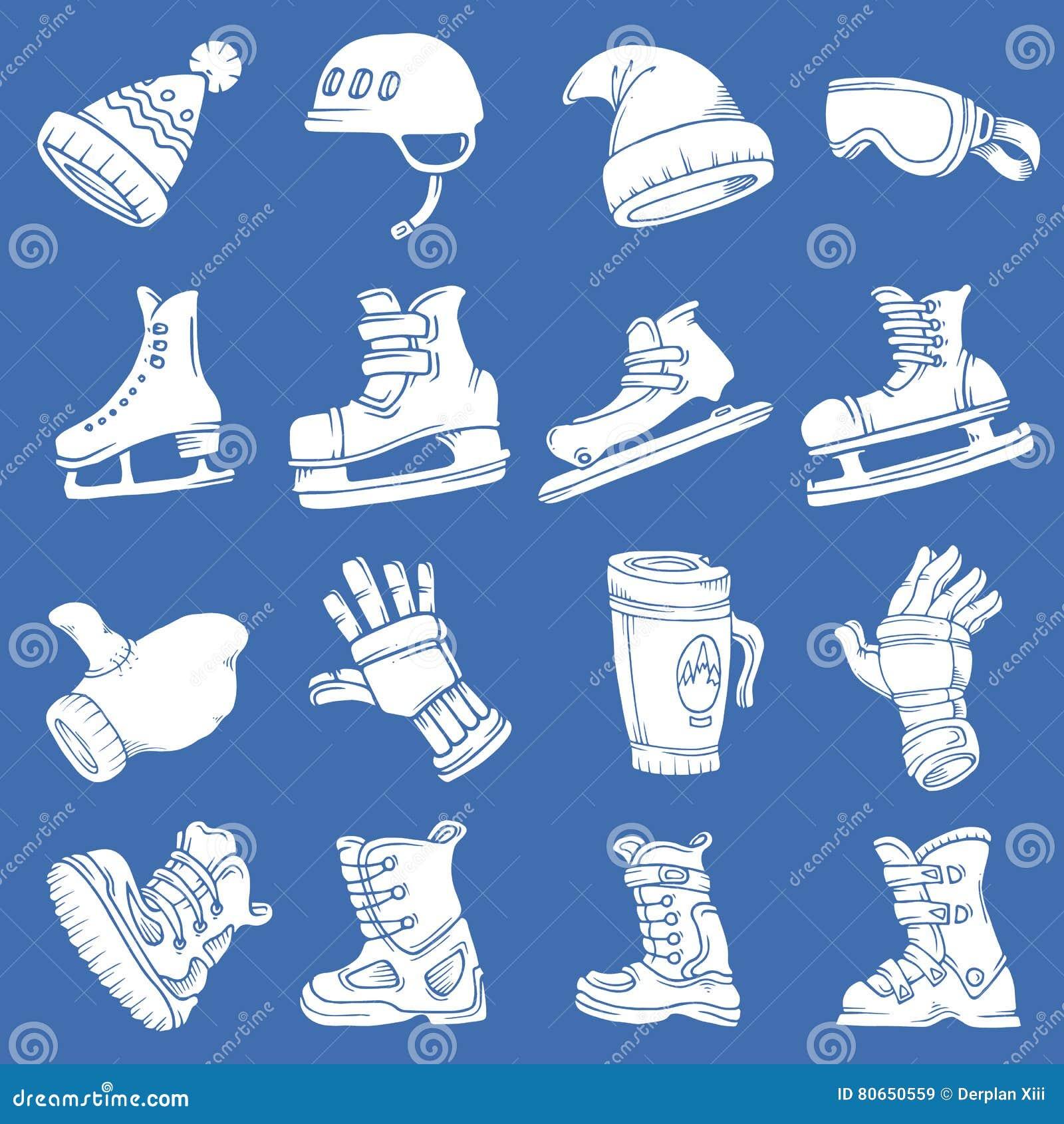Doodle wektoru zimy odosobneni sporty