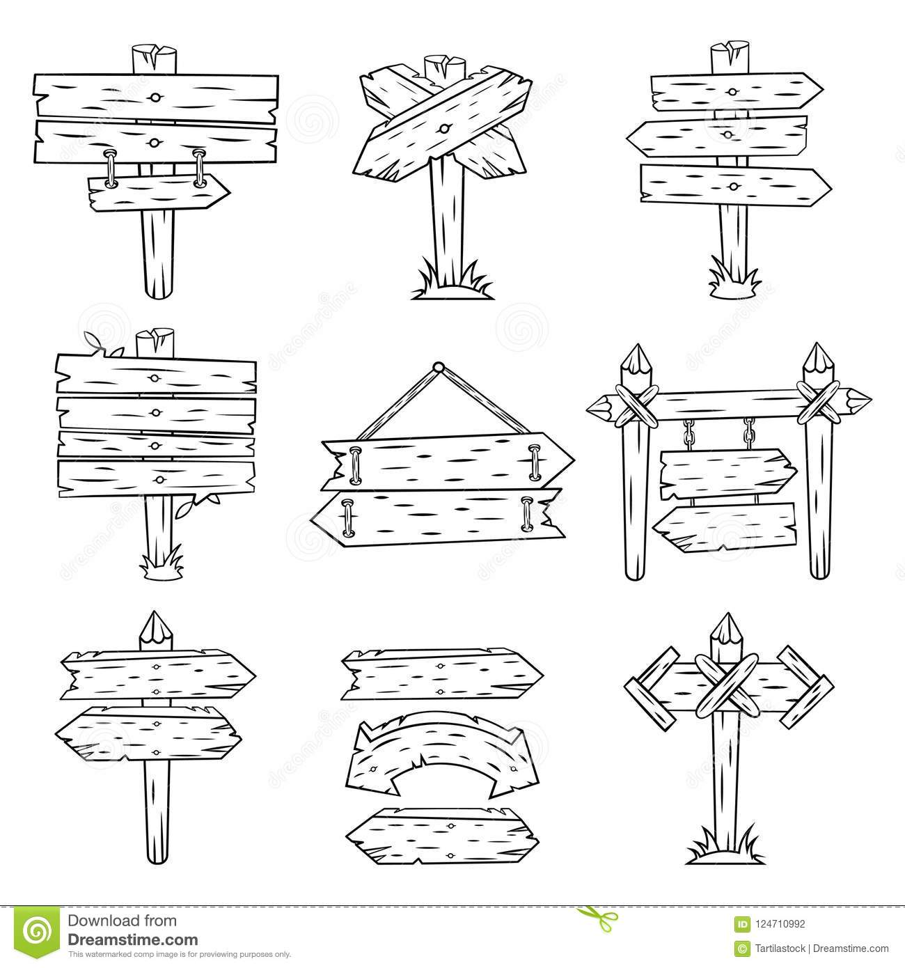 Doodle Wood Signs Hand Drawn Wooden Signpost And Arrows Sketch
