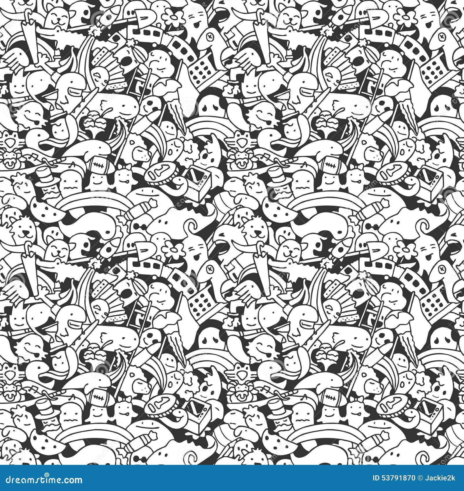 Download Doodle Wzór Z Szalonymi Doodle Charakterami Ilustracja Wektor - Ilustracja złożonej z dziwaczny, zaszczepka: 53791870