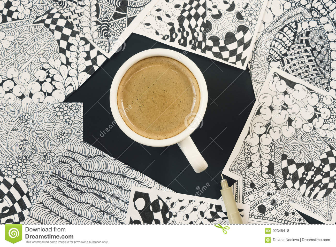 Doodle zen tangle illustration zen art doodle patterns for the beginners sketch illustrations a pencil and a cup of coffee on the dark wooden table