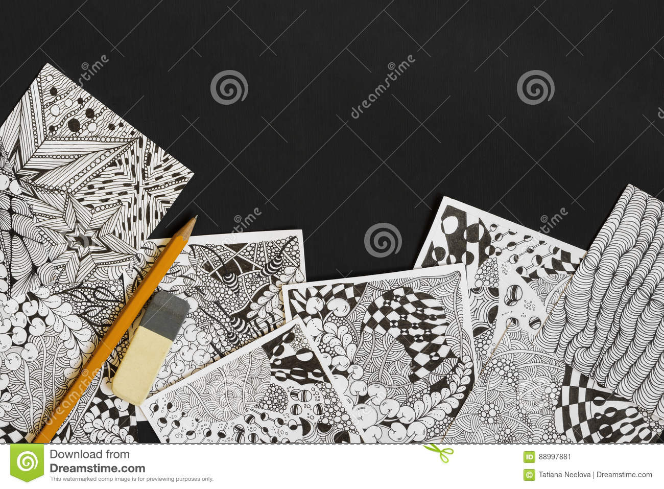 Doodle zen tangle illustration zen art doodle patterns for the beginners sketch illustrations a pencil and eraser on the dark wooden table