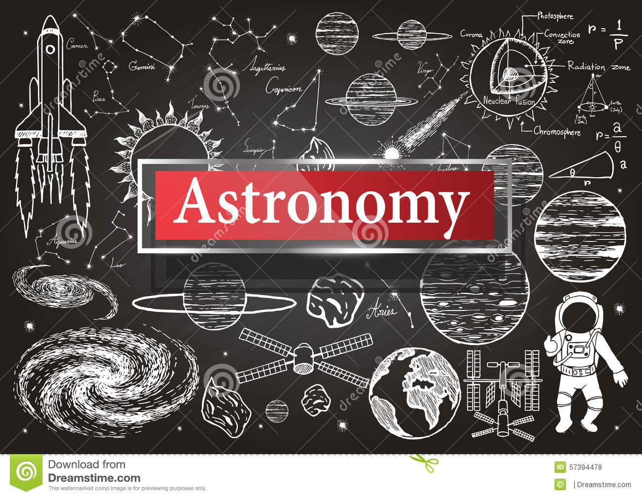 Doodles About Astronomy On Chalkboard With Transparent Frame The Word Stock