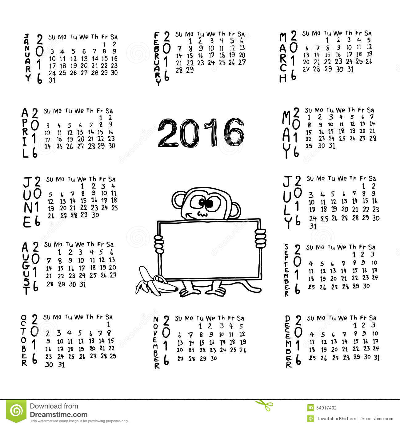 Calendar Illustration Board : Doodles of calendar for with monkey holding white